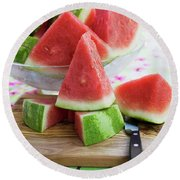 Many Pieces Of Watermelon In A Glass Bowl Round Beach Towel