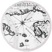 Map: Louisbourg, 1758 Round Beach Towel