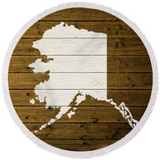 Map Of Alaska State Outline White Distressed Paint On Reclaimed Wood Planks. Round Beach Towel