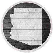 Map Of Arizona State Outline White Distressed Paint On Reclaimed Wood Planks Round Beach Towel