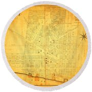 Map Of Detroit Michigan C 1835 Round Beach Towel