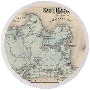 Map Of East Hampton 1873 Round Beach Towel