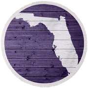 Map Of Florida State Outline White Distressed Paint On Reclaimed Wood Planks Round Beach Towel