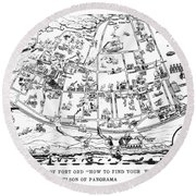 Map Of Fort Ord Army Base Monterey California Circa 1950 Round Beach Towel
