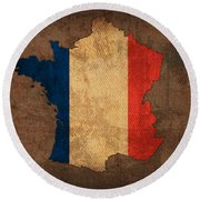 Map Of France With Flag Art On Distressed Worn Canvas Round Beach Towel