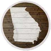 Map Of Georgia State Outline White Distressed Paint On Reclaimed Wood Planks Round Beach Towel
