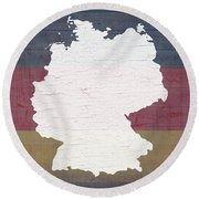 Map Of Germany In White Old Paint On German Flag Barn Wood Round Beach Towel