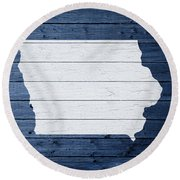 Map Of Iowa State Outline White Distressed Paint On Reclaimed Wood Planks Round Beach Towel