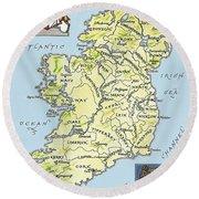Map Of Ireland Round Beach Towel