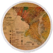 Map Of Maryland Geological 1897 Round Beach Towel