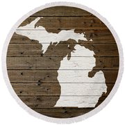 Map Of Michigan State Outline White Distressed Paint On Reclaimed Wood Planks Round Beach Towel
