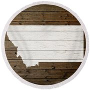 Map Of Montana State Outline White Distressed Paint On Reclaimed Wood Planks Round Beach Towel