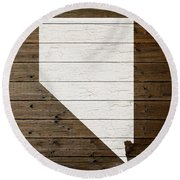 Map Of Nevada State Outline White Distressed Paint On Reclaimed Wood Planks Round Beach Towel