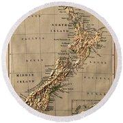 Map Of New Zealand 1880 Round Beach Towel