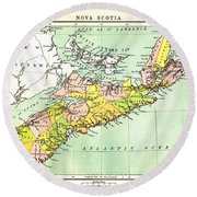 map of Nova Scotia - 1878 Round Beach Towel