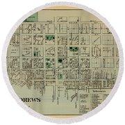 Map Of Saint Andrews 1878 Round Beach Towel