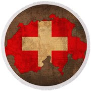 Map Of Switzerland With Flag Art On Distressed Worn Canvas Round Beach Towel