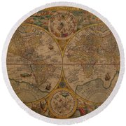 Map Of The World 1599 Vintage Ancient Map On Worn Parchment Round Beach Towel