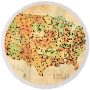 Map Of United States Of America With Crystallized Counties On Worn Parchment Round Beach Towel