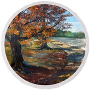 Maple Lane Round Beach Towel by Lee Piper