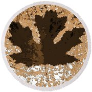 Maple Leaf Brown  Hues Round Beach Towel