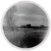 Round Beach Towel featuring the photograph Maple Ridge Rd Farm by Daniel Thompson