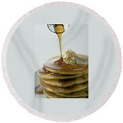 Maple Syrup Being Poured Onto A Stack Of Pancakes Round Beach Towel