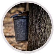 Maple Syrup Time Collecting Sap Round Beach Towel
