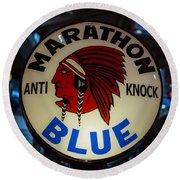Marathon Blue Vintage Gas Pump Round Beach Towel
