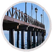 Round Beach Towel featuring the photograph Marbella Pier Spain by Clare Bevan