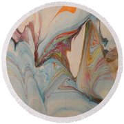 Round Beach Towel featuring the painting Marble 24 by Mike Breau