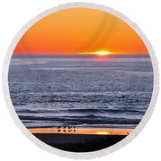 Round Beach Towel featuring the photograph Marbled Godwits Reflecting A Sunset by Susan Wiedmann
