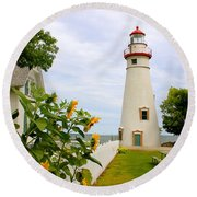 Round Beach Towel featuring the photograph Marblehead Lighthouse by The Art of Alice Terrill