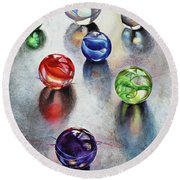 Marbles 1 Round Beach Towel