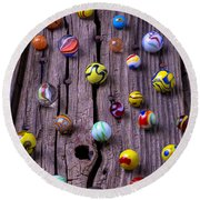 Marbles On Wood Round Beach Towel