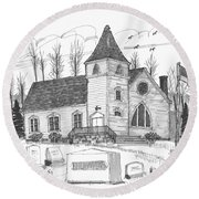 Marbletown Church Round Beach Towel