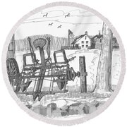 Marbletown Farm Equipment Round Beach Towel