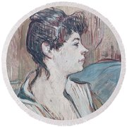 Marcelle, 1894 Pastel On Paper Round Beach Towel