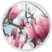 Round Beach Towel featuring the painting March Magnolia by Barbara Jewell