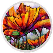 March Of The Poppies Round Beach Towel