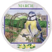 March Wc On Paper Round Beach Towel