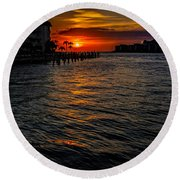 Marco Island Sunset 43 Round Beach Towel