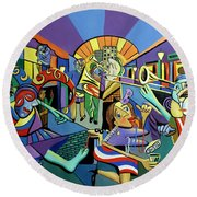 Round Beach Towel featuring the painting Mardi Gras Lets Get The Party Started by Anthony Falbo