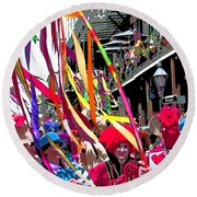 Mardi Gras Marching Parade Round Beach Towel