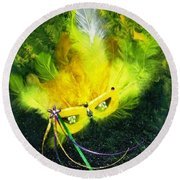Round Beach Towel featuring the painting Mardi Gras On Green by Alys Caviness-Gober