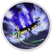 Round Beach Towel featuring the painting Mardi Gras On Purple by Alys Caviness-Gober