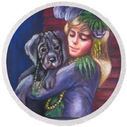 Mardi Gras Puppy Round Beach Towel
