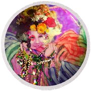 Mardi Gras Queen Round Beach Towel