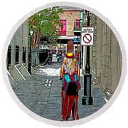 Mardi Gras In French Quarter Round Beach Towel