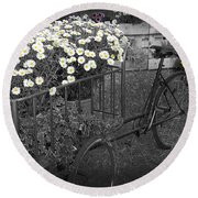Marguerites And Bicycle Round Beach Towel by Gina Dsgn